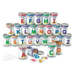 Alfabetyczne puszki zupy do nauki angielskiego
