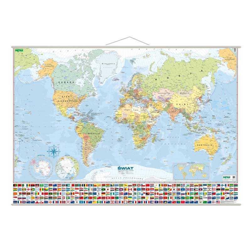 Mapa ścienna: Świat. Mapa polityczna, 200x140 cm