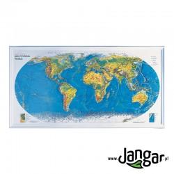 Ścienna wytłaczana mapa geofizyczna świata