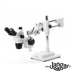 Mikroskop stereoskopowy zoom 6,67x...45x trójokularowy, tubus na wysięgniku