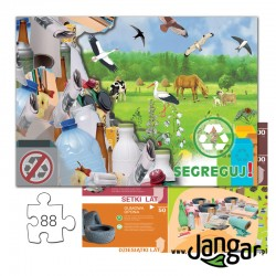 Puzzle SEGREGUJ PRAWIDŁOWO ODPADY, 88 elementów + podkładka, w zamykanym pudełku