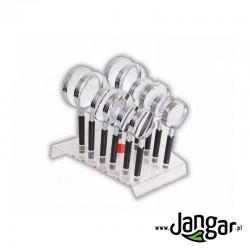 Komplet 12 szklanych lup z rączką, na podstawie