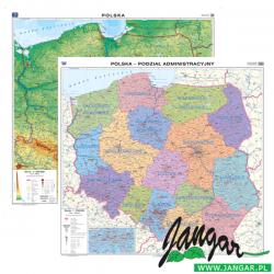 Mapa ścienna, 100x98 cm: Polska. M. ogólnogeogr./ Podział administracyjny
