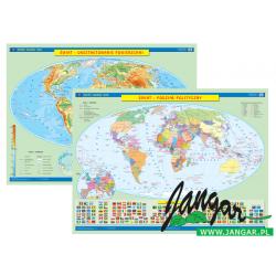 Mapa ścienna, 160x120 cm: Świat. Ukształt. pow. / Podział Polit.