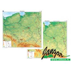 Mapa ścienna, 160x150 cm: Polska. M. ogólnogeogr./ Mapa do ćwiczeń