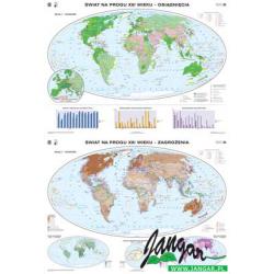 Mapa: Świat na progu XXI wieku. Osiągnięcia/Zagrożenia