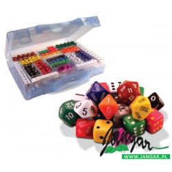 Wielki zestaw 162 różnościennych kostek do gry (14 rodzajów)