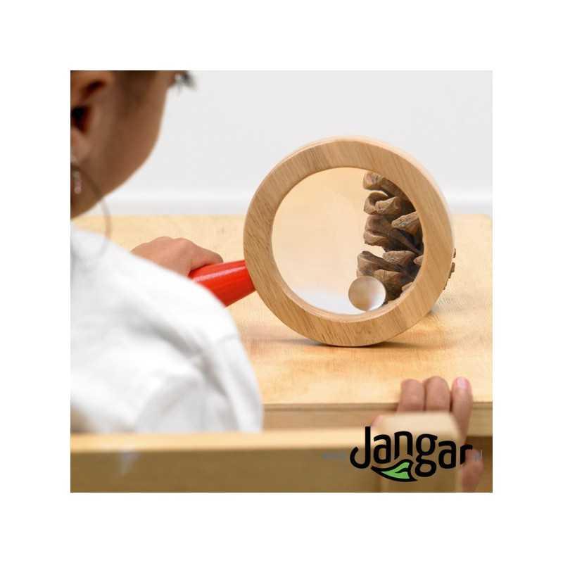 Lupa drewniana szklana 2x z oczkiem 3x, średnica 10 cm