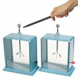 Elektroskop dwulistkowy kwadratowy z szybkami, kpl. 2