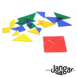 Tangram – łamigłówka transparentna, 28 części, 4 kolory