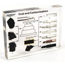 Węgiel (różne) i produkty jego przerobu - 14 próbek zatopionych w tworzywie