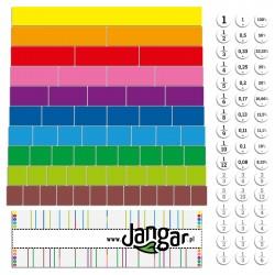 Liczby w kolorach / ułamki z 3 rodzajami jednostek - wersja magnetyczna, demonstracyjna