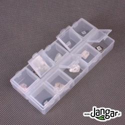 Kolekcja mała 10 minerałów w pudełku z pokrywkami