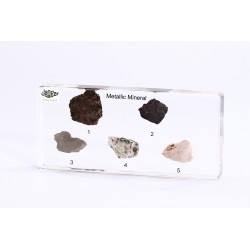 Minerały – rudy metali, 5 okazów zatopionych w tworzywie