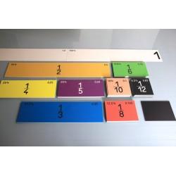 Kolorowe kwadraty-ułamki, magnetyczne, 100 cm